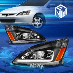 Pour 03-07 Honda Accord Led Drl Light Bar Black/amber Phares De Remplacement