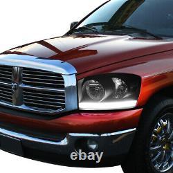Pour 06-08 Dodge Ram Black/clear Side Turn Corner+led Drl Headlamp Head Light