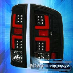 Pour 07-08 Dodge Ram 1500 2500 3500 Led Drl Red Tube Brake Tail Lights Lamp Black