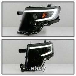 Pour 07-10 Ford Edge Black Led Neon Tube Drl Projecteur Phare De Gauche + Lampe De Droite