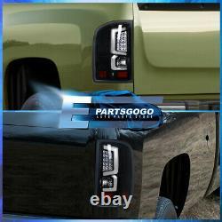 Pour 07-13 Chevy Silverado Led Drl Black Headlights + Black Housing Tail Lights