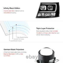 Pour 07-14 Chevy Suburban / Tahoe Black Led Neon Tube Drl Projecteur Phare