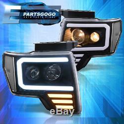 Pour 09-14 Ford F150 Noir Clair Led Drl Tube Projecteur Phares Lampes Paire