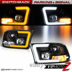 Pour 09-18 Dodge Ram Switchback Led Drl Projecteur De Tube De Signal Phare Noir L+r