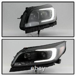 Pour 13-15 Chevy Malibu Black Led Neon Tube Halo Drl Projecteur Phare L+r Lampe