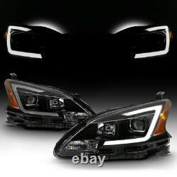 Pour 13-15 Nissan Sentra Sinister Black Smoke C-shape Led U-bar Drl Phare