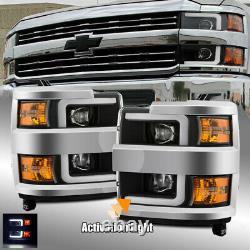 Pour 15-19 Phares Silverado 2500/3500 Drl/activation Light Black Projector