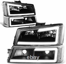 Pour 2003-2006 Chevy Silverado 3d Led Drl Headlights+bumper Lights Black Clear