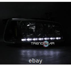 Pour 2006-2009 Charger Drl Led Black Crystal Head Lights+chrome Bumper Fog Lamp