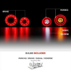 Pour 2009-2021 Nissan Gtr Smoke Newest Dual Led Ring Tail Light Set Remplacement