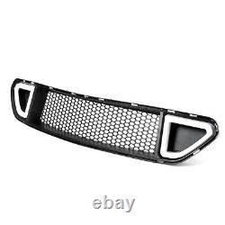 Pour 2015-2017 Ford Mustang Abs Black Front Upper Grille Hood Avec Feux Led Drl