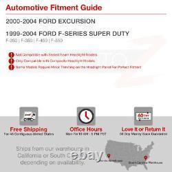 Pour 99-04 Ford F250 F350 Superduty Neon Tube Led Drl Projecteur Noir Phare