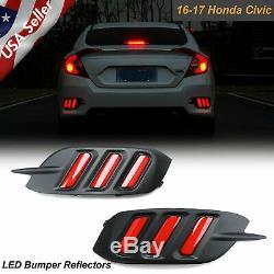 Pour Honda CIVIC 2016-2019 4dr Led Réflecteur Pare-chocs Taillight Lumière De Frein Cadrans