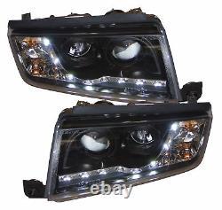 Pour Skoda Fabia 99-07 Black Led Drl Projecteur Phares Lampe D'éclairage