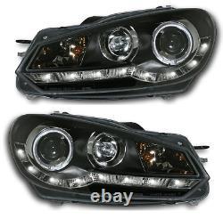 Pour Vw Golf Mk6 09+ Black Led Drl Projecteur Phares Lighting Lamp Spare Part