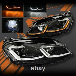 R Style Drl Led Séquentiel Indicateur Xénon Hid Phares Pour Vw Golf Mk 7.5