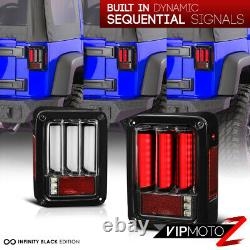 Signal Sequential Pour 07-18 Jeep Wrangler Black Lunette Full Led Tail Light