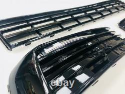 T6 Lower Grille & Light Bar Drl Kit Painted Gloss Black Transporter 15 On
