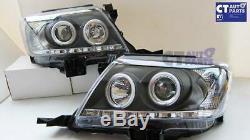 Toyota Hilux Vigo Black Led Drl Angel-yeux Projecteur Tête Lumières 11-14