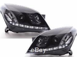 Vauxhall Astra H 04-08 Noir Drl Diable Angel Eyes Phares Avant Lumières Paire