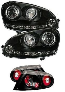 Vw Golf Mk5 Black Angel Eye Phares Avec Bande Drl R8 Et Feux Arrière Noirs
