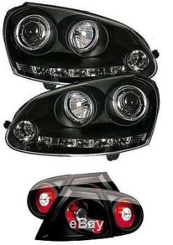 Vw Golf Mk5 Black Angel Phares Yeux Avec Led Drl Et Lumières Arrière Noir