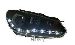 Vw Golf Mk6 Black Drl Led Devil Eye R8 Design Projector Phares Avant