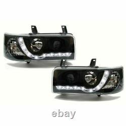 Vw T4 Transporter 90 03 Short Nose Black Drl Devil Eye R8 Head Lights