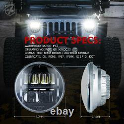 Xprite 7 60w Led Phares Élevés / Faisceau Bas Avec Drl Pour 97-18 Jeep Wrangler Tj Jk