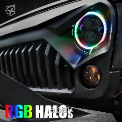 Xprite 7 90w Cree Phares Led Rgb Avec Danse Halo Pour Jeep Wrangler Jk Tj Lj
