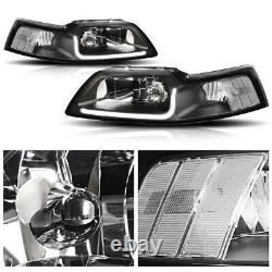 (barre Lumineuse Led Drl) Lampes Frontales Black/clear Corner Pour Ford Mustang 99-04